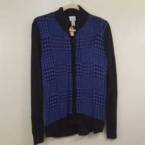 Blue Hounds tooth Zip Front Cardigan Sweater 2